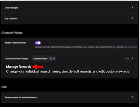 twitch manage rewards